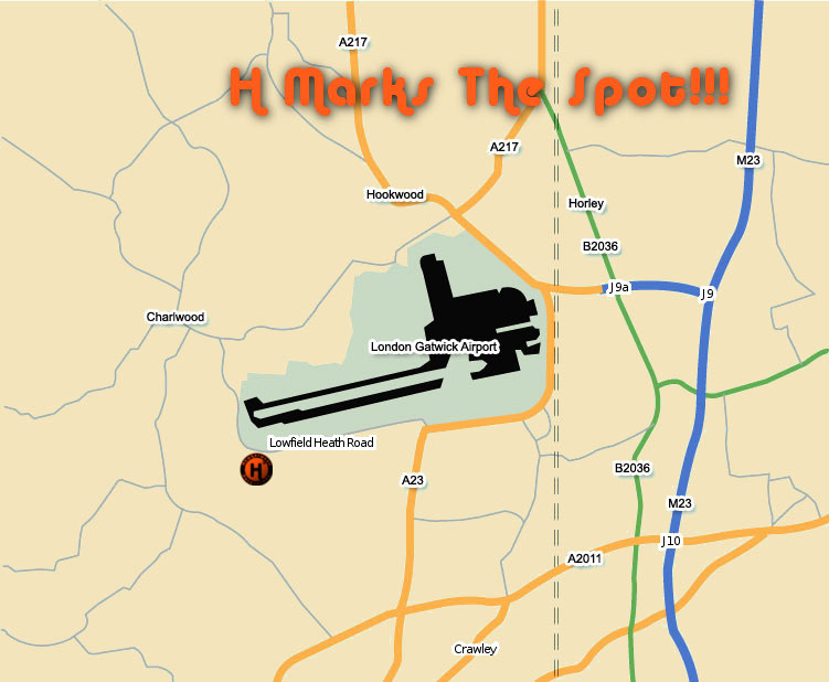 Hawkerwood Hovercraft Gatwick Map
